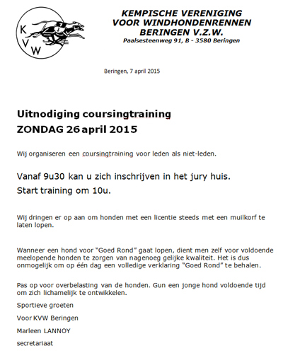 uitnodiging coursingtraining